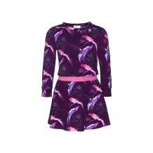 Mim-Pi jurk aubergine/pink paradijsvogel all over