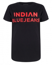 Indian blue jeans T-Shirt zwart met rode tekst