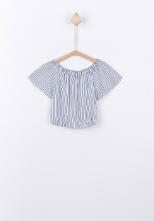 Tiffosi off shoulder blouse wit/navy